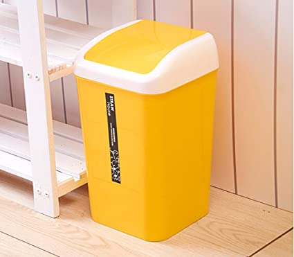 Genial Plastic Swing Lid Bedroom Trash Can Bathroom Trash Can Wiht Lid 8  Liter/2.11 Gallon