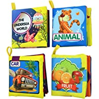 YeahiBaby 4 Pcs Baby First Cloth Book Washable Soft Early Educational Books for Infants Toddlers Kids (Animal Sea World Car and Fruit)