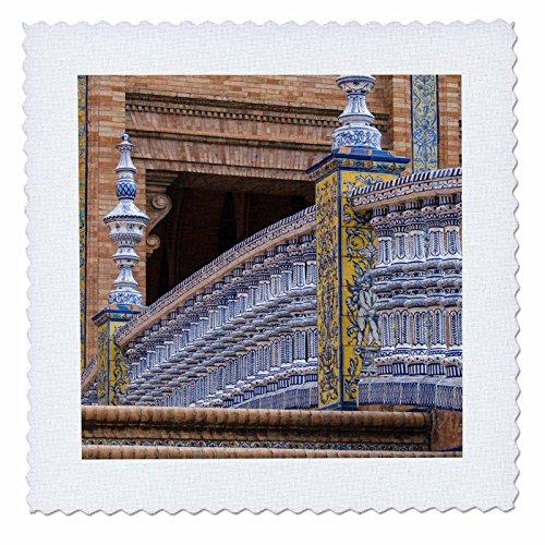 3dRose Danita Delimont - Bridges - Spain, Andalusia, Seville. Plaza de Espana, regionalism architecture. - 14x14 inch quilt square (qs_277886_5) by 3dRose