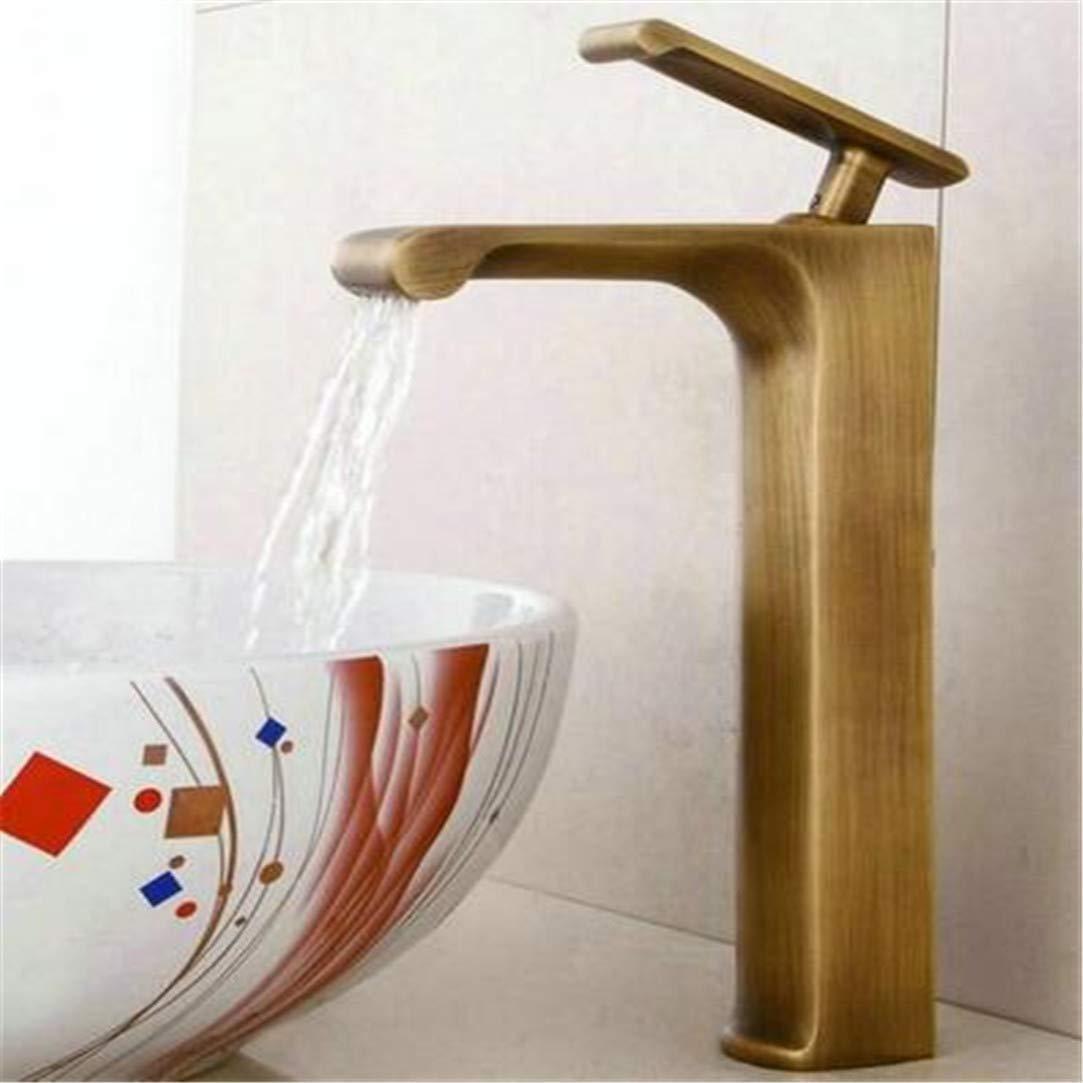 Oudan Basin Faucet Antique Brass Basin Faucet Brass Crane Bathroom Sink Faucet Single Handle Waterfall Faucet Wash Basin Mixer Taps (color   -, Size   -)