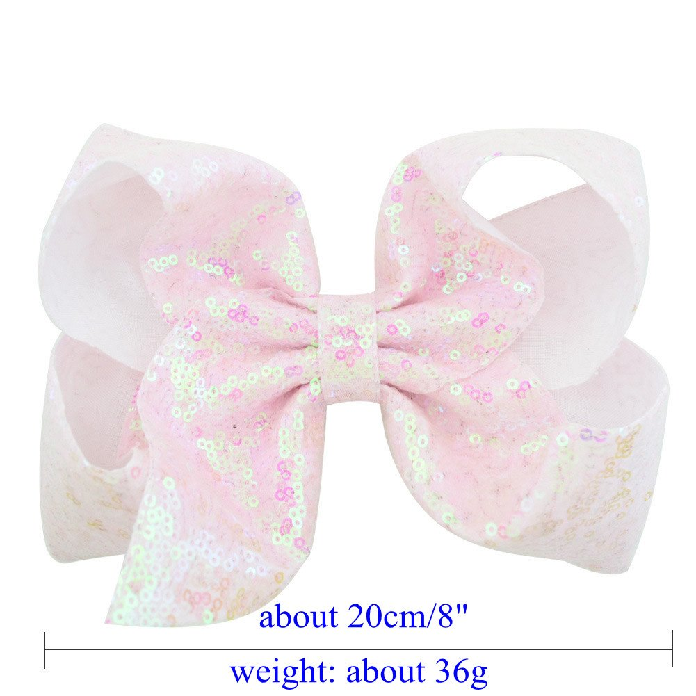 inSowni 8'' Big Large Glitter Bow Hair Clips Barrettes for Baby Girl Toddlers Kids Women (6PCS S2 (Size/8'')) by inSowni (Image #2)