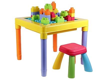 Scrivania Per Bambini 2 Anni : Tavolino multiattività con cubetti di costruzione e sedia per