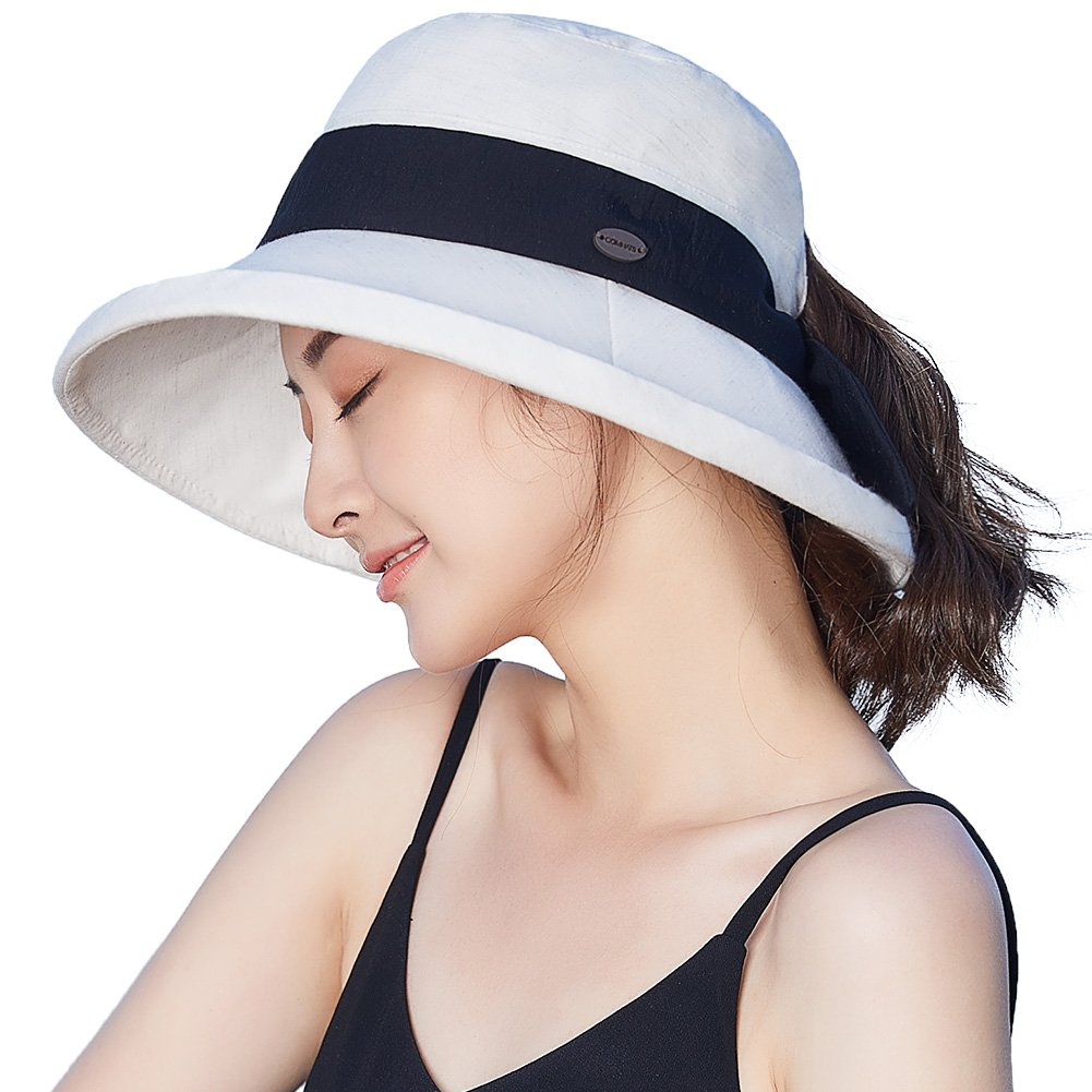 bf19401cd8322 Packable Sun Bucket Uv Ponytail Hat Women Beach Safari Hiking Travel Bonnie  55-61cm at Amazon Women s Clothing store