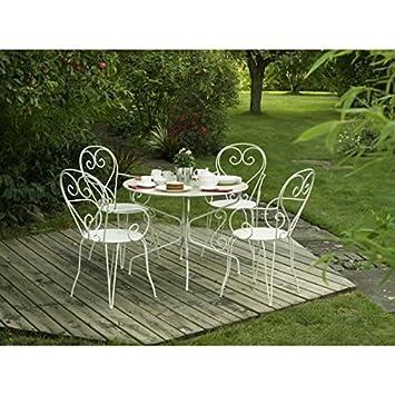 Table de jardin romantique en fer forgé avec trou central pour ...