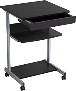 Yaheetech Mobile Computer Desk Cart Rolling Laptop PC Table Workstation with Drawer and Printer Stand Home Office Furniture