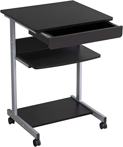 YAHEETECH Mobile Computer Desk Cart Rolling Laptop PC Table Workstation