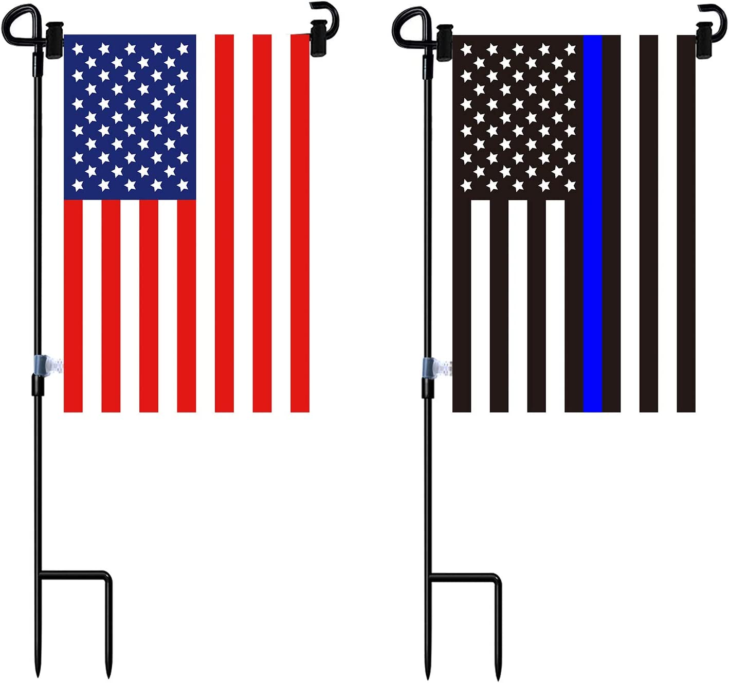 Garden Flag Stand and American Flag, Thin Blue Line Garden Flag with AntiWind Clip,Stopper,Weatherproof 2 Sided 12x18 Inch Patriotic US Flag Banner Keep Your Flags from Flying Away in High Winds