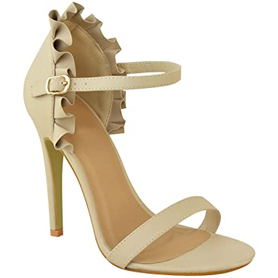 6b19446443e Womens Ladies High Heel Barely There Frill Ruffle Rose Party Sandals Shoes  Size