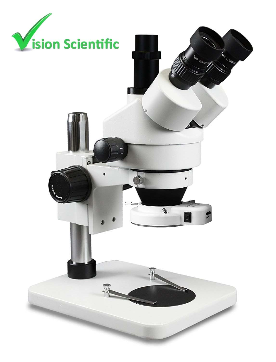 Vision Scientific VS-1F-IFR06 Trinocular Zoom Stereo Microscope, Paired 10x Widefield Eyepiece, 0.7x—4.5x Zoom Range, 7x—45x Magnification Range, Pillar Stand, 56-LED ring light with intensity control