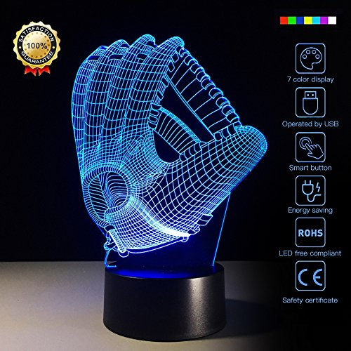 Night Light Baseball Glove 3D Night Light Beside Lamp Help Kids Fell Safe at Night 7 Colors Change Decor Perfect Birthday Gift for Kids Great Toy Gift Idea for Kids ()