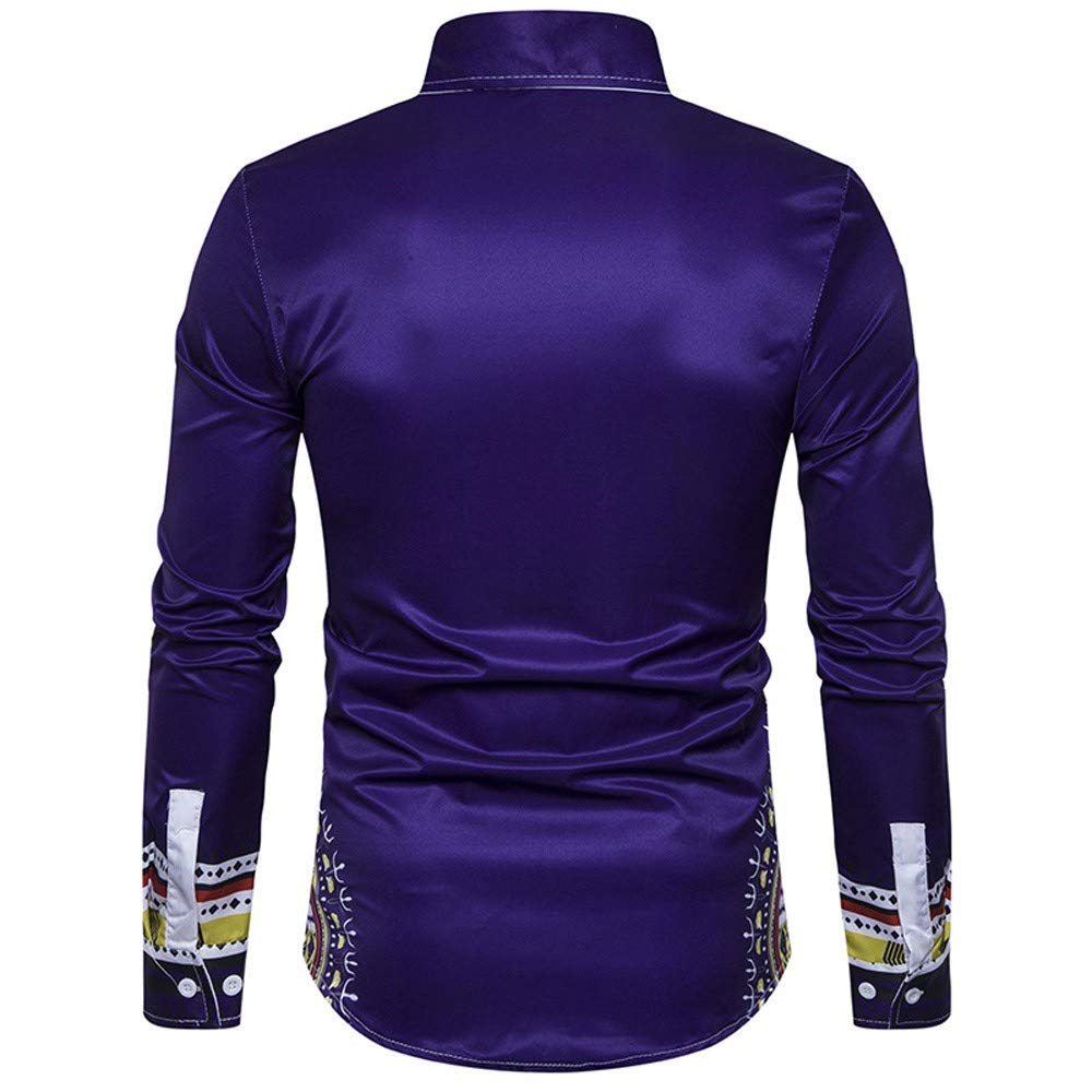 ff92d9c89df HGWXX7 T-Shirt Men Casual African Print Long Sleeved O-Neck Pullove Blouse  Top