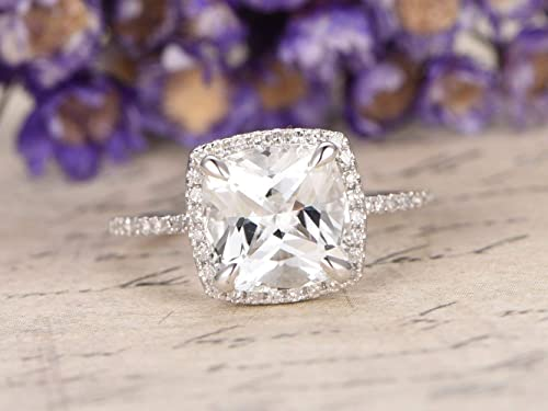 Amazon Com Natural 8mm Cushion Cut White Topaz Engagement Ring