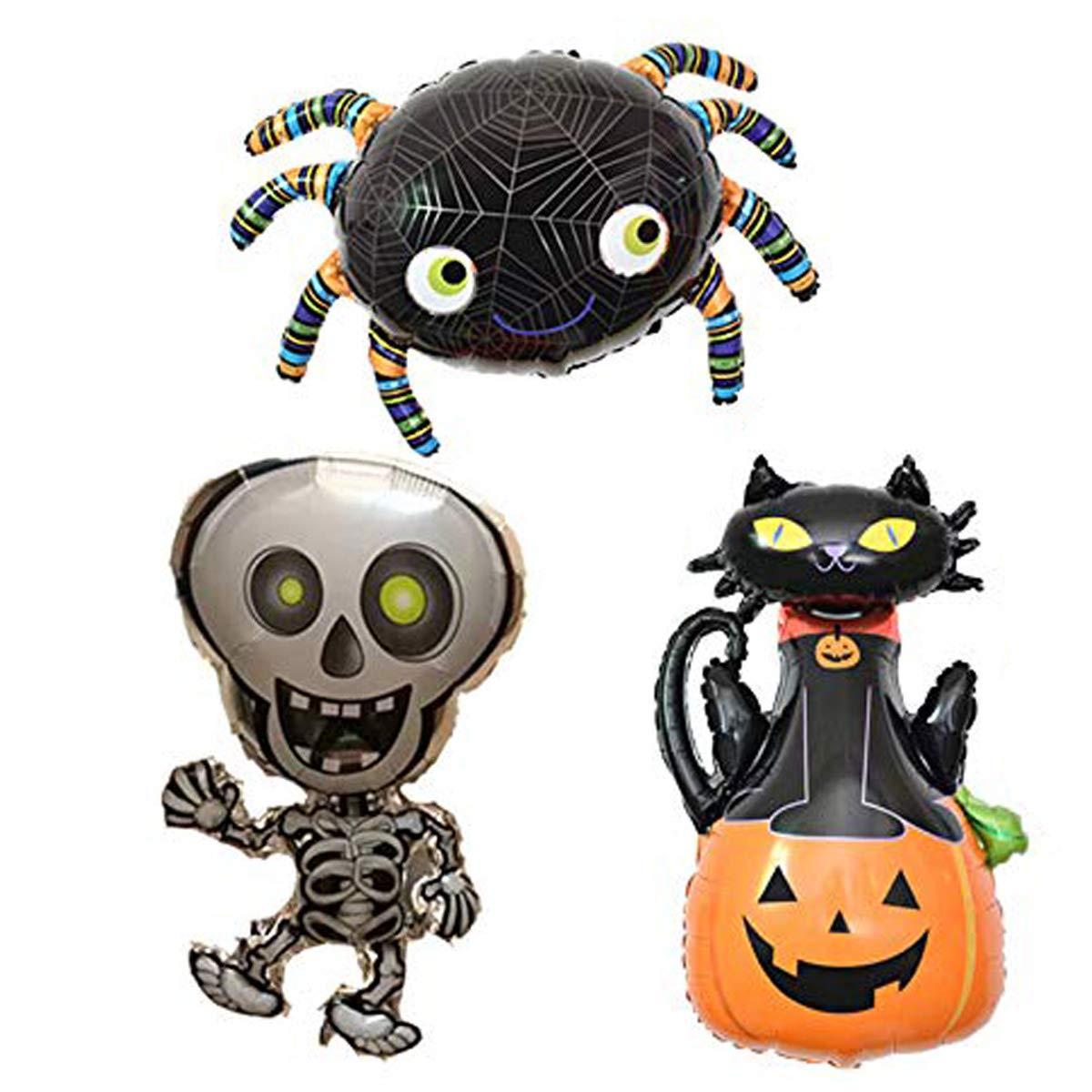 Bahpaud Paquete de Globos de Halloween de 3 Piezas Extra Grande Calabaza de Gato Negro Araña Globos de Papel Fantasma para decoración de Halloween Suministros de Fiesta de Halloween