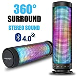 Bluetooth speakers, Pasonomi Portable Bluetooth Wireless Speaker with Colorful LED Light Subwoofer HIFI Speaker Support Hands-free Function USB TF Card