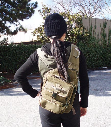 Amazon.com : Military Inspired Canvas Sling Bag Backpack Bookbag ...