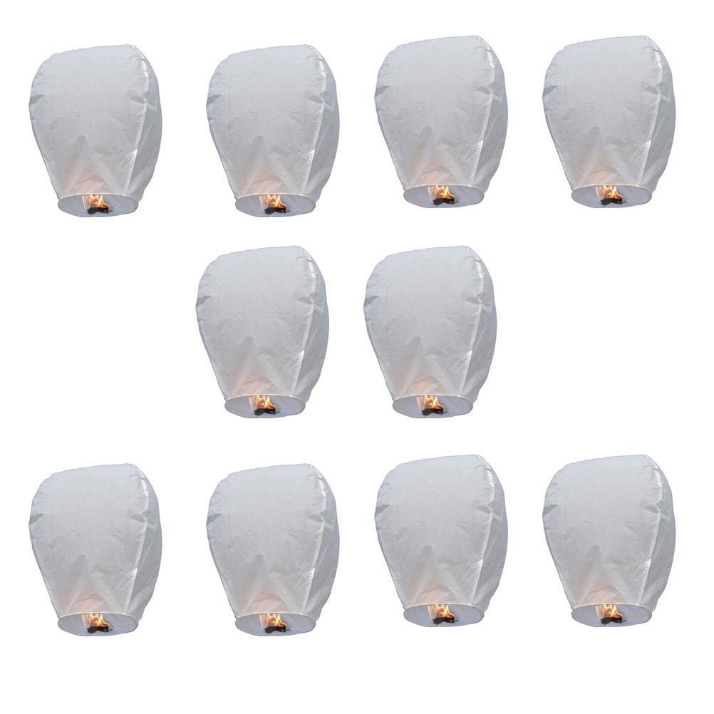 PIXNOR Oval Sky Lantern Chinese Kongming Lantern Wishing Lamps Pack of 10 (White)