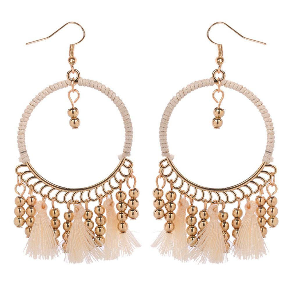 Rope Beads Tassels Drop Hoop Earrings Boho Cotton Cord Beads Chain Frangle Drop Large Hollow Circle Hook Earrings for Women Girls