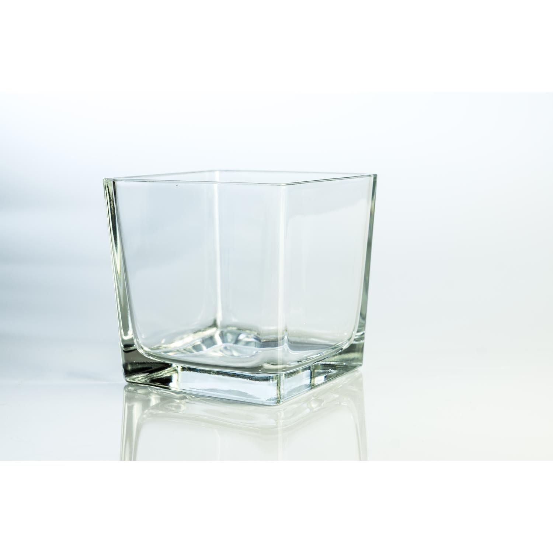 Set 2 x di Grande portacandela cubico in vetro KIM, trasparente, 14x14x14 cm - Portalumino / Bicchiere decorativo - INNA Glas