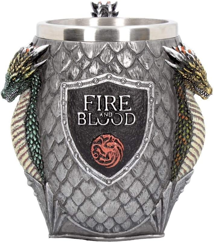 Nemesis Now B3704J7 House Targaryen Tankard Game of Thrones - Taza (20 cm, resina con inserto de acero inoxidable), color gris