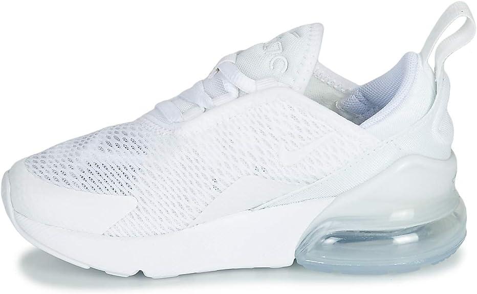 Nike Air Max 270 (PS), Chaussures d'Athlétisme garçon, Blanc (WhiteWhiteMetallic Silver 000), 35 EU