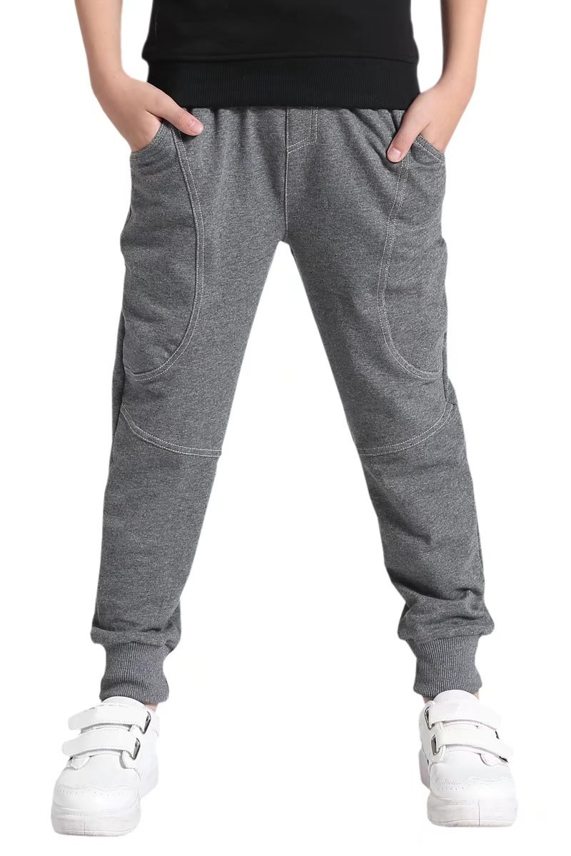AOWKULAE Cotton Sports Sweat Jogger Pants for Little Boys Grey, Age 5T-6T (5-6 Years) = Tag 130