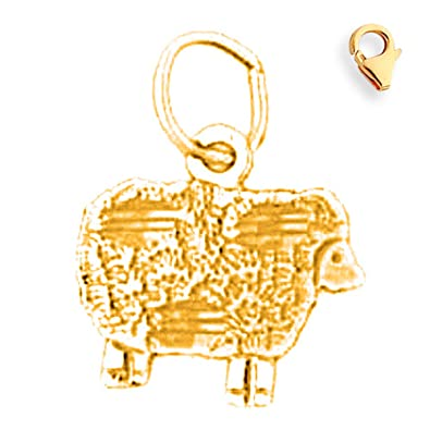Jewels Obsession 14K White Gold Sheep Pendant 15 mm