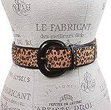 Ladies Patent Leather Leopard Print Animal Fur Fashion Belt, Beige | S/M - 32