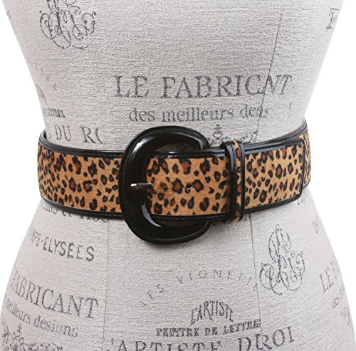 Ladies Patent Leather Leopard Print Animal Fur Fashion Belt, Beige | M/L - 36