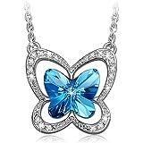 LADY COLOUR Papillon Collier Pendentif Femme Cristaux de SWAROVSKI® - Plaqué or Blanc Fantaisie Bijoux et Boite-cadeau