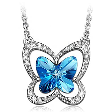 Lady colour butterfly charm necklace for women with blue crystals lady colour butterfly charm necklace for women with blue crystals from swarovski pendant jewellery aloadofball Choice Image