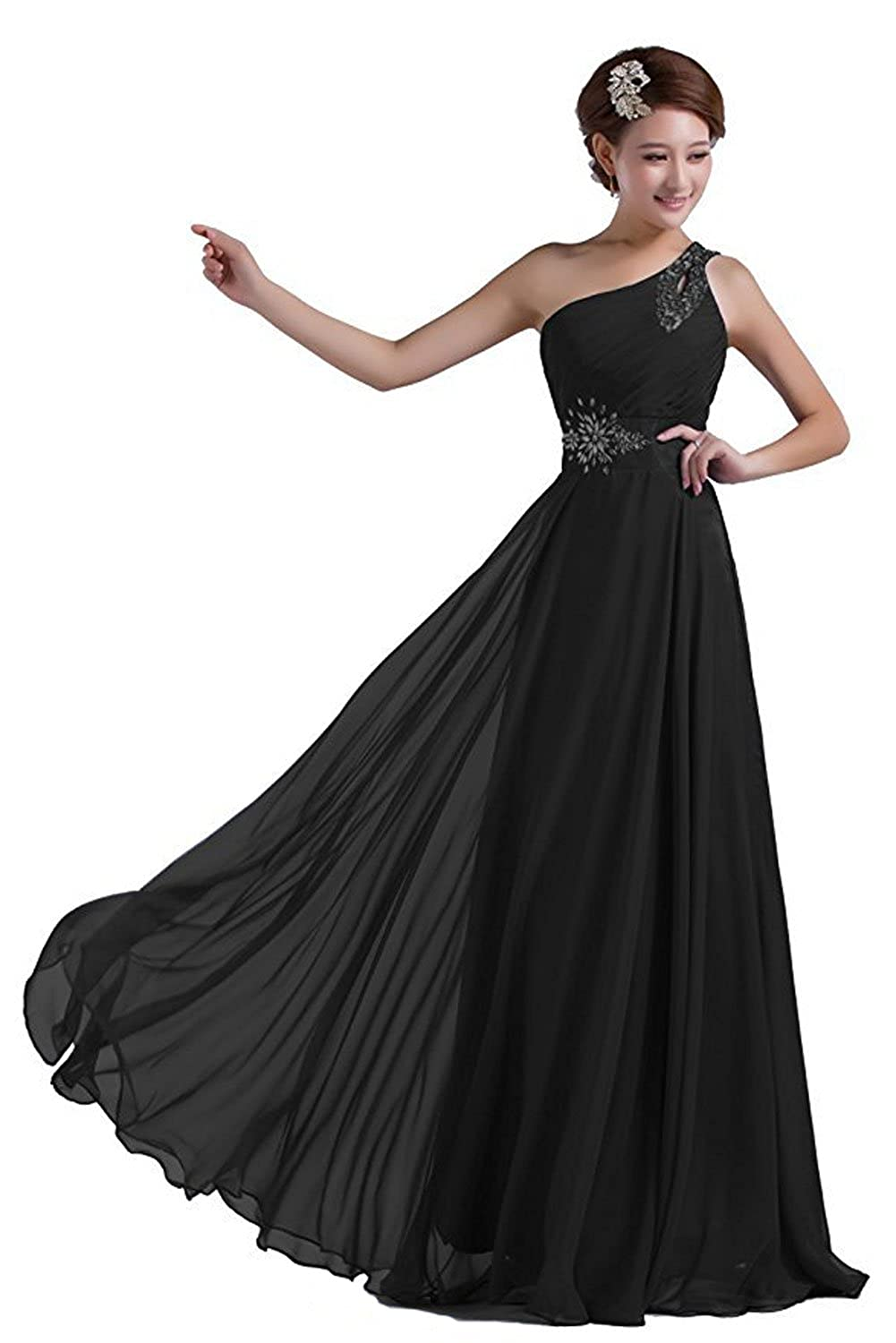 Chic Bride One Shoulder Beads Floor Length Bridesmaid Dress Long Prom Dress at Amazon Womens Clothing store: