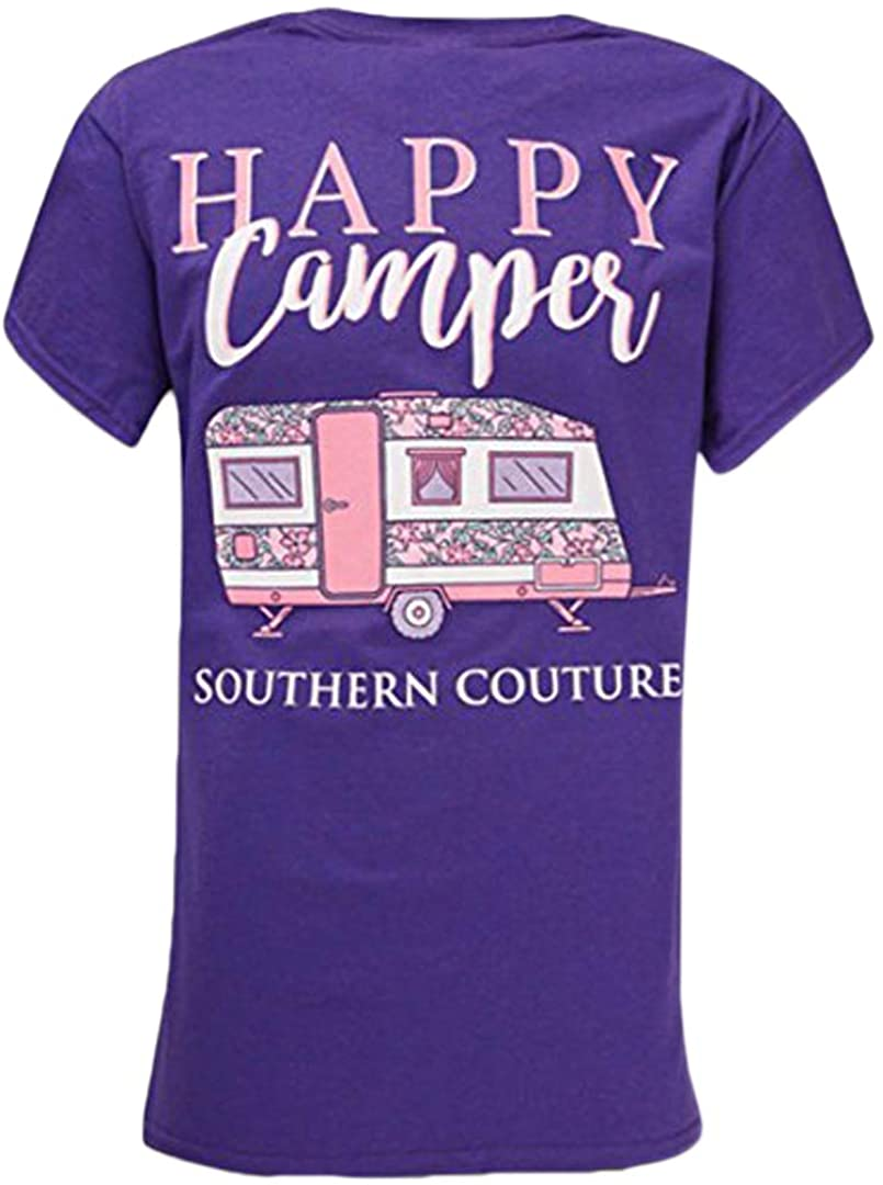 Southern Couture SC Classic Happy Camper Pink RV Womens Classic Fit T-Shirt - Lilac