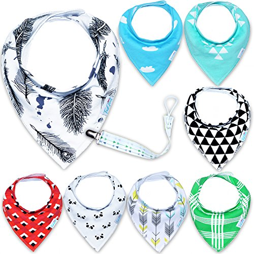 Baby Bandana Drool Bibs, Set 8-Pack for Drooling and Teething, Premium Quality for Boys And Girls, 100% Organic Cotton, Soft and Absorbent Hypoallergenic