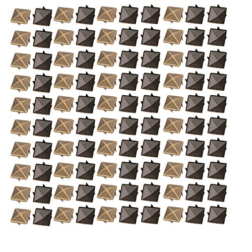uxcell 100pcs 15mm Square Shaped Paper Brad Bronze Tone for Scrapbooking DIY Craft (Fasteners Square Brad)