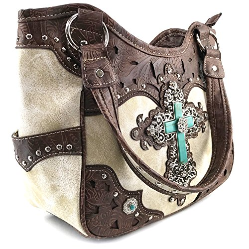 Turquoise Tooled Concho Cross Purse Handbag West Tote Purse Cut Justin Rhinestone Cream Shoulder Leather Studded Laser UXS1Ua8W