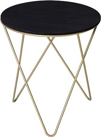 Set da 3 tavolino tondo da salotto in metallo colore oro