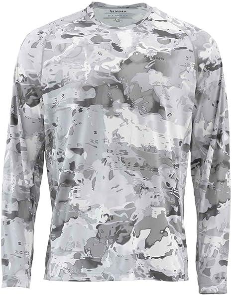 Simms Solarflex - Camiseta de pesca, protección solar UPF 50+, XL, Nube Camo Gris: Amazon.es: Ropa y accesorios