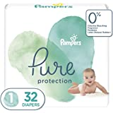 Diapers Newborn/Size 1 (8-14 lb), 32 Count - Pampers Pure Protection Disposable Baby Diapers, Hypoallergenic and Unscented Pr