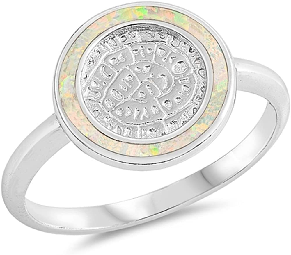 CloseoutWarehouse Blue Simulated Opal Classic Circle Plain Band Ring Sterling Silver