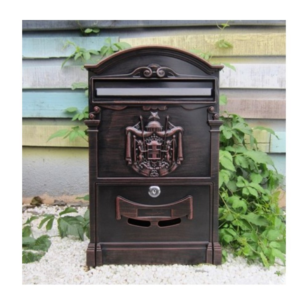 European classical villa mailbox Pastoral retro wall letter box Waterproof outdoor Post mailbox with lock Baroque by xichengshidai