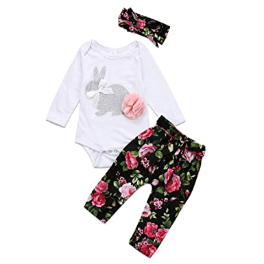 3a462ed39619 Amazon.com  Whitegeese Infant Baby Girls Rabbit Romper +Floral Pants  Headband 3PCS Easter Outfits Set  Clothing