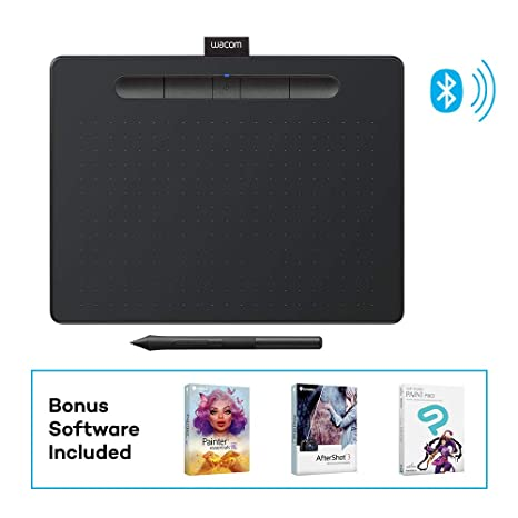 Wacom Intuos Wireless Graphics Drawing Tablet with 3 Bonus Software  Included, 10 4