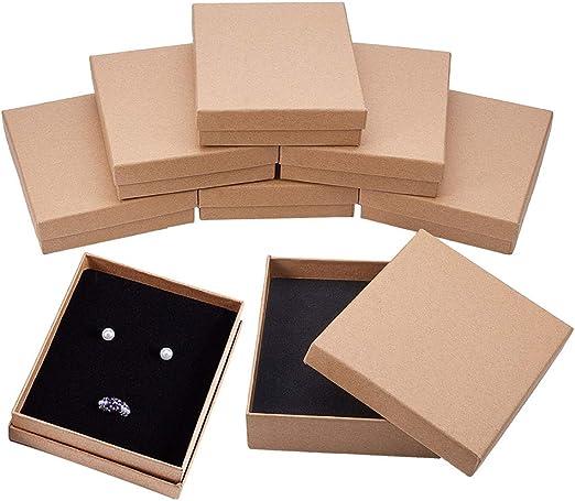 BENECREAT 8 Pack Cajas de Cartón Kraft para Collar 13x11x3cm Gran Caja de Regalo Rectácula de Pulsera y Pendientes Cumpleaños Boda Festival: Amazon.es: Hogar