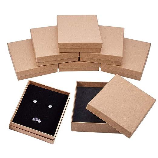 BENECREAT 8 Pack Cajas de Cartón Kraft para Collar 13x11x3cm Gran Caja de Regalo Rectácula de Pulsera y Pendientes Cumpleaños Boda Festival