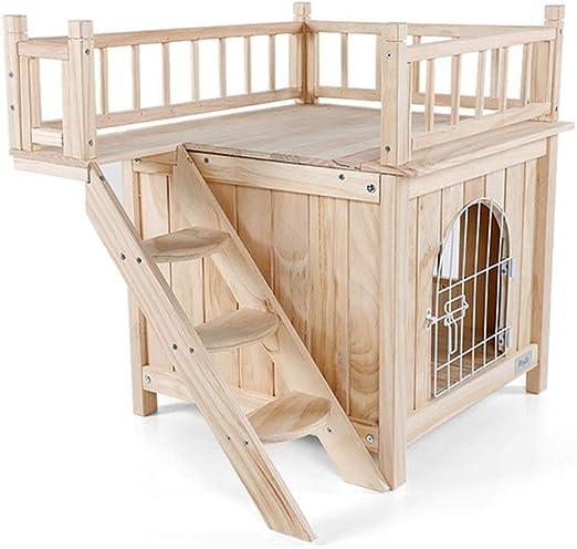 Hh001 Nido para Mascotas de Interior Pine Pine, Doble Perrera con Puertas y escaleras para Four Seasons Universal (Color : Wood Color, Size : 72.5 * 54.5 * 64CM): Amazon.es: Productos para mascotas