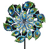 Bits and Pieces - Solar Peacock Wind Spinner - Decorative Solar Powered Kinetic Wind Mill: Glass Ball Emits Color-Changing Light - Unique Outdoor Lawn and Garden DÃcor, Lawn Ornament