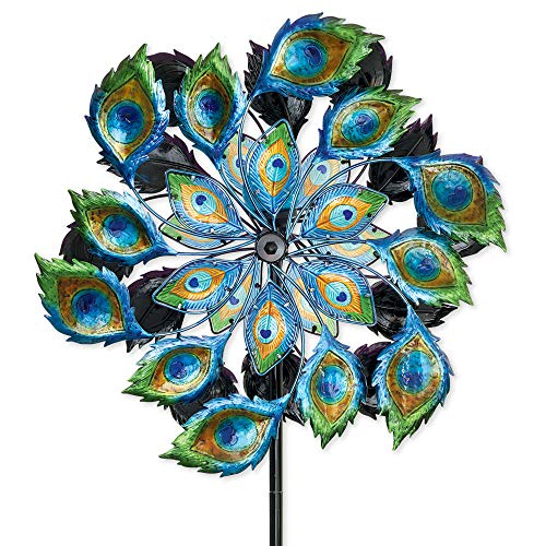 (Bits and Pieces - Solar Peacock Wind Spinner - Decorative Solar Powered Kinetic Wind Mill: Glass Ball Emits Color-Changing Light - Unique Outdoor Lawn and Garden Décor, Lawn Ornament)