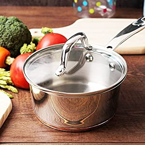 HOMI CHEF Mirror Polished Copper Band NICKEL FREE Stainless Steel Sauce Pan (No Toxic Non Stick Coating, NICKEL & PTFE & PFOA FREE)