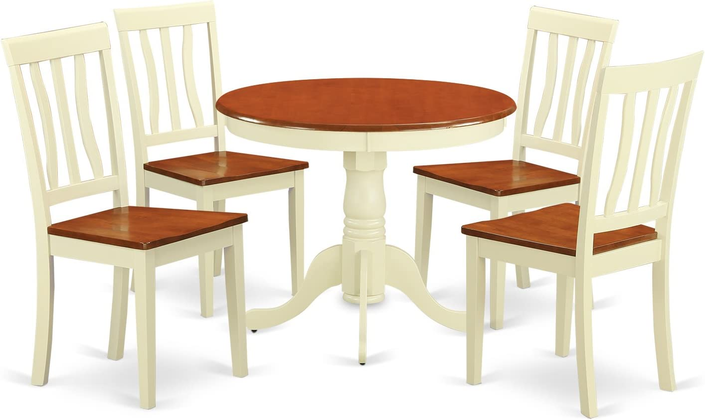 ANTI5-WHI-W 5 PC small Kitchen Table and Chairs set-Kitchen Table plus 4 Kitchen Dining Chairs