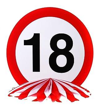 Tischdeko 25 Cm Durchmesser Verkehrsschild 18 18ter Geburtstag